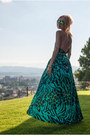 Teal-diva-charms-dress-yellow-cut-out-diva-charms-heels