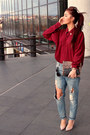 Teal-ripped-denim-motivi-jeans-brick-red-burgundy-h-m-shirt