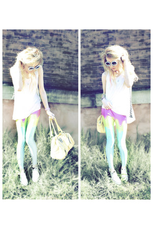ice cream romwe leggings - yellow Guess bag - pearl studded romwe sunglasses