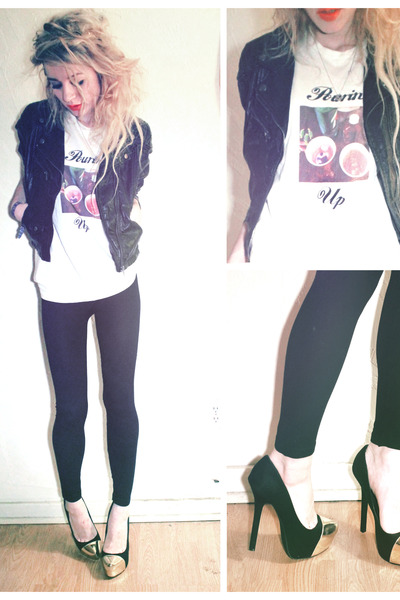 pourin up print lavagrantbelle shop t-shirt - black leather H&amp;M jacket