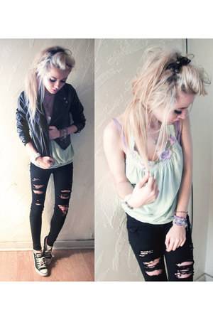 leather H&M jacket - ripped black PacSun jeans - free people top