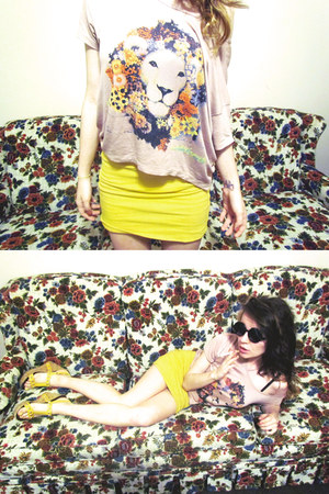 lion crop top romwe top - yellow bodycon BDG skirt