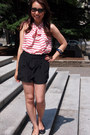 Black-wilfred-shorts-black-bloch-flats-j-crew-blouse
