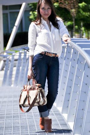 ivory Club Monaco blouse - tawny Rachel Comey boots