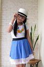 Hat-blue-skirt-white-zara-t-shirt-black