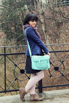 aquamarine satchel Typo bag - camel vintage boots - navy arithalia dress