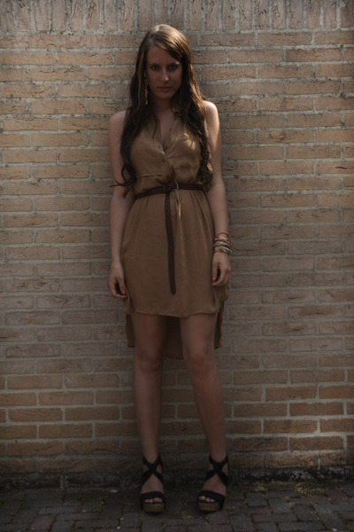 camel H&M dress