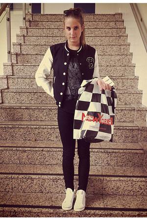 black baseball H&M jacket - eggshell action vintage shoes - black Zara jeans