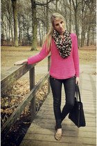 hot pink H&M sweater - tawny leopard loafers Bristol shoes
