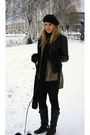Black-jacket-green-h-m-shirt-black-pieces-boots-black-h-m-hat