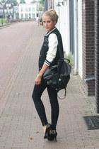 black baseball H&M jacket - black Zara jeans - black backpack vintage bag