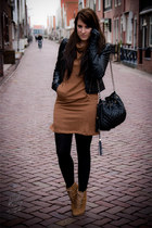 black leather hm jacket - camel Zara shoes - brown Zara dress
