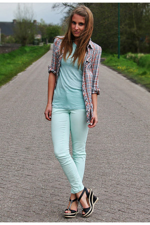 light blue pastel Zara top - light blue pastel H&M jeans