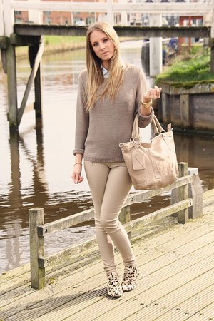camel Nancy Mode pants - brown leopard print Murati footwear shoes