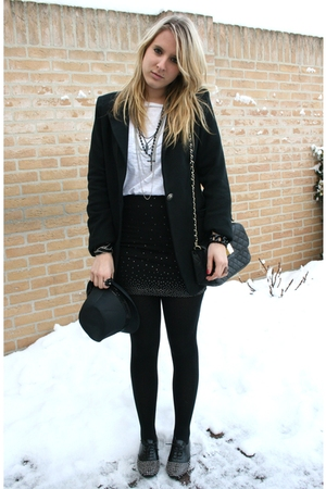 black New Yorker blazer - black H&amp;M skirt - white H&amp;M t-shirt - black Sacha shoe