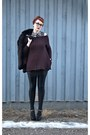 Black-rabbit-fur-coat-maroon-sweater-black-american-apparel-leggings