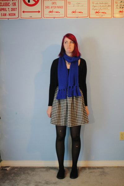 blue scarf - black cardigan - skirt - black tights - black Target