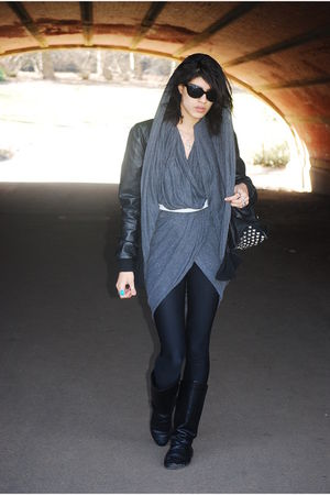 black H&M jacket - black American Apparel leggings - black alloy boots - black F