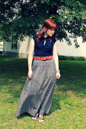 teal long floral H&M skirt - navy shirt