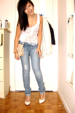DIY shredded tank shirt - Guess jeans - Aldo shoes - H&M purse - Jacob blazer