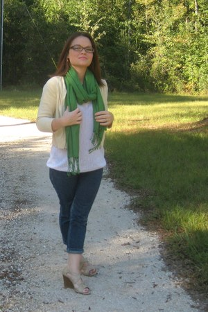blue jeans - chartreuse scarf - light yellow cardigan