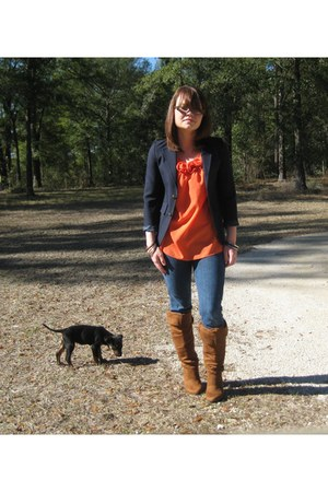 camel boots - navy blazer - orange blouse