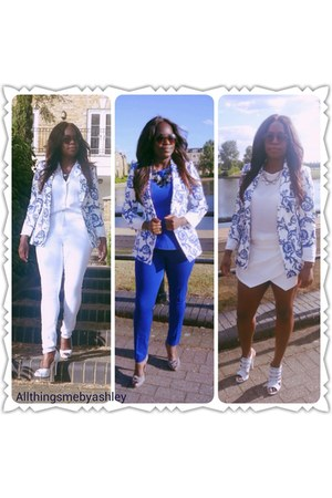 white Belstaff shoes - white asos jeans - blue Zara blazer