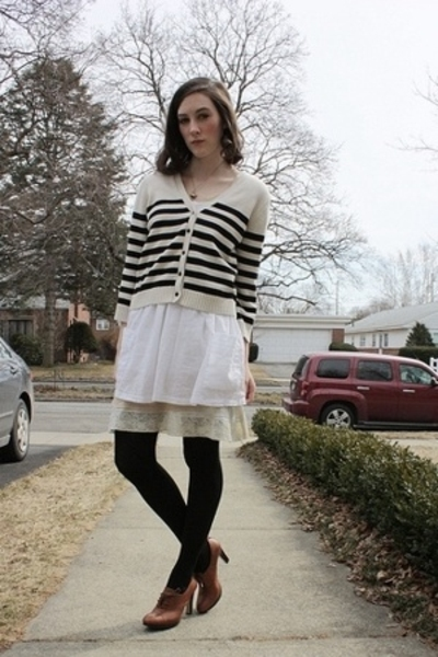 H&M sweater - H&M dress - thrift intimate - Old Navy intimate - Nine West tights