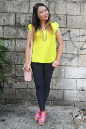 light pink Bazaar bag - navy zoo pants - yellow Jellybean top