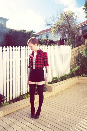 black asos shorts - black asos socks - red Ebay blouse - black Wildpair heels