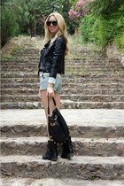 Modekungen boots - Zara jacket - asos bag - Primark shorts - H&M top