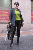 Mango coat - Zara scarf - Choies shorts - GINA TRICOT jumper - Zara heels