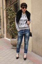 Zara scarf - Bershka jeans - & other stories bag - Zara wedges