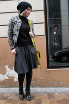 Zara boots - asos hat - Zara jacket - Uterque skirt - asos earrings - COS jumper