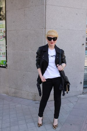 Topshop jacket - Alexander Wang bag - Reason t-shirt - dune heels - Zara pants
