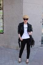 Topshop jacket - Alexander Wang bag - Reason t-shirt - dune heels - Zara pants