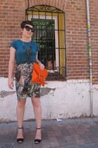 asos bag - Lefties t-shirt - suiteblanco skirt - Zara sandals - JCrew necklace
