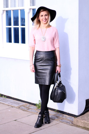 leather pencil lavish alice skirt - floppy hat Topshop hat - pink Topshop jumper
