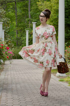 floral print modcloth dress - vintage bag - bow Charming Charlie belt