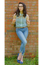 blue flower print merona loafers - sky blue style 535 Levis jeans