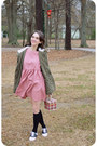 Pink-smock-the-whitepepper-dress-olive-green-charlotte-russe-jacket
