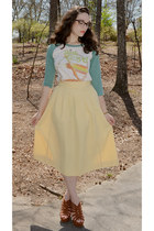 light yellow skirt - brown waverly Sole Society wedges - ivory t-shirt