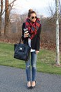 Blue-citizens-of-humanity-jeans-black-blazer-h-m-blazer-red-plaid-zara-scarf
