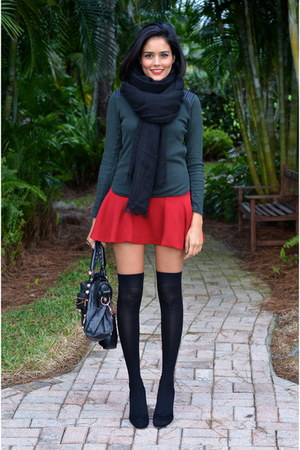 black Zara scarf - black knee high socks H&M socks - forest green Zara top