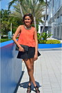 Carrot-orange-lush-clothing-top-black-zara-skirt