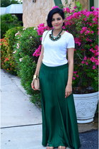 forest green Zara skirt - white J Crew t-shirt - forest green Zara necklace