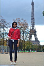 ruby red Forever 21 sweater - white OSIYAN PARIS bracelet