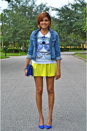 white Galeano t-shirt - sky blue Zara jacket - blue Juicy Couture heels