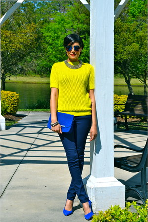 chartreuse Club Monaco sweater - navy Zara jeans - blue Minelli bag