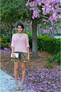 Pink-love-culture-sweater-olive-green-zara-skirt